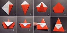 DIY ideas and tutorials - Origami Santa DIY Ideen und Tutorials - Origami Santa Origami And Kirigami, Origami Paper, Diy Paper, Paper Crafting, Oragami, Christmas Origami, Noel Christmas, Christmas Ornaments, Father Christmas