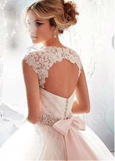 Charming Tulle Backless Wedding Dress #wedding #dress www.loveitsomuch.com