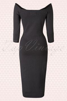 Collectif Clothing Morgana Black White Polkadot Pencil Dress 16166 20150624 0006WV