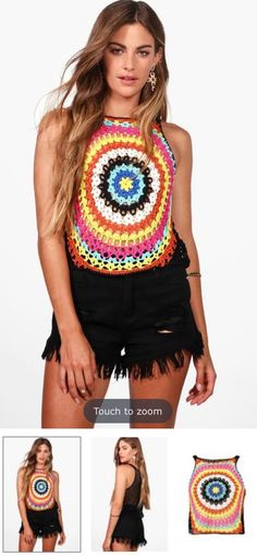 Multi-coloured crochet vest (Boohoo)