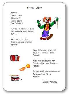 Comptine clown maternelle, Comptine Clown Clown de Michel Agneray Le Clown, Circus Clown, Theme Carnaval, French Poems, Elementary Schools, Michel, Blog, Brazil, School