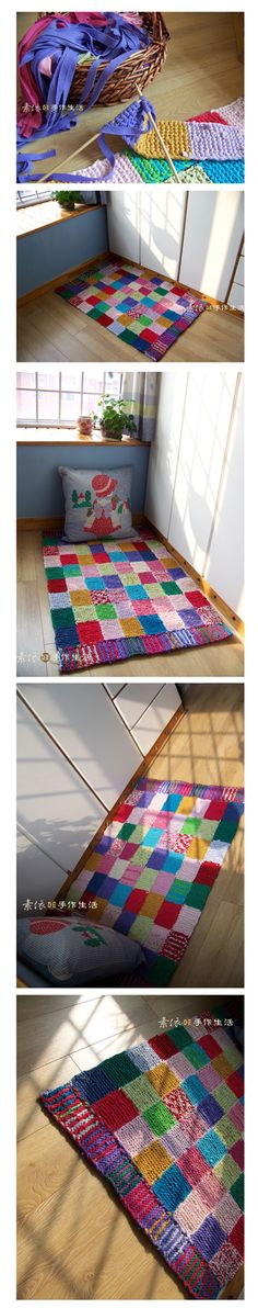knit rug - from the shirt fabric yarn Knitting Projects, Sewing Projects, Diy Projects, Knit Rug, Knit Crochet, Tapetes Diy, Fabric Yarn, Scrap Fabric, Recycled Fabric