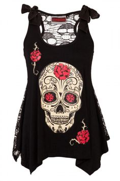 Skull Lace Back Top - Black