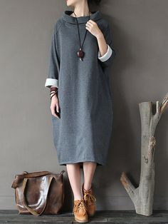Casual Loose Solid Color Long Sleeve Stand Collar Women Dresses