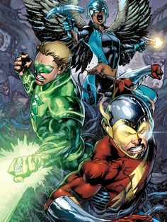 Earth 2's Green Lantern, Flash, and Hawkgirl. My mind isn't quite made up on this series yet but I'm still willing to keep buying it to see where Robinson is headed with the concept.