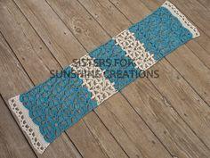 Teal Crochet Table Runner, handmade by Sisters for Sunshine Creations
