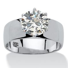 Sterling Silver Cubic Zirconia Solitaire Engagement Ring - White - Overstock - 5267568 - 7 Cubic Zirconia Engagement Rings, Cubic Zirconia Rings, Solitaire Engagement, Solitaire Ring, Silver Jewelry, Vintage Jewelry, Fine Jewelry, Silver Ring, Natural Jewelry