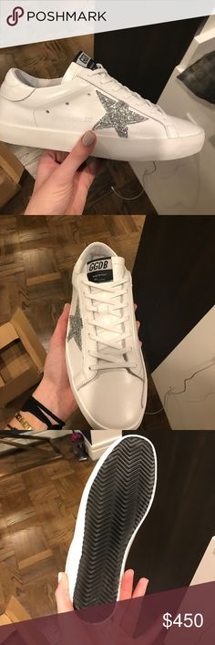 White golden goose sneakers with sparkles White with crystal edition Golden Goose Shoes Sneakers