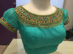 Handcrafted saree blouses for women - Kurti Blouse Simple Blouse Designs, Silk Saree Blouse Designs, Choli Designs, Bridal Blouse Designs, Maggam Work Designs, Designer Blouse Patterns, Blouses For Women, Neck Deep, Blouse Neck