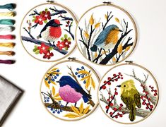 Birds Modern Cross Stitch Pattern, easy counted cross stitch chart, animal cross stitch, flowers, na Cross Stitch Bird, Cross Stitch Flowers, Cross Stitching, Color Patterns, Print Patterns, Crochet Patterns, Pattern Designs, Modern Cross Stitch Patterns, Tropical