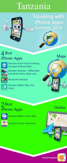 Tanzania iPhone apps: Travel Guides, Maps, Transportation, Biking, Museums, Parking, Sport and apps for Students.