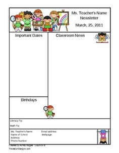 This is a two page template for a classroom newsletter. The file is to be opened in Microsoft Word. Click inside the text boxes to add your classro...