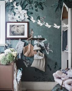 Cute kids´s room with wallpaper faded passion green by Sandberg Wallpaper Inspiration For Kids, Nursery Inspiration, Nursery Room, Kids Bedroom, Fantasy House, Cottage Design, House Design, Room Planning, Kid Spaces