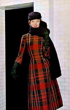 Womens Plaid Coat ~ Jacques Fath 1955
