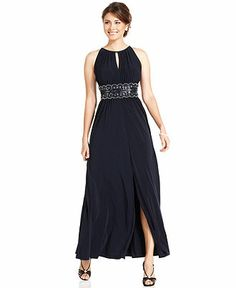 Alex Evenings Plus Size Dress, Three Quarter Sleeve Beaded Empire ...