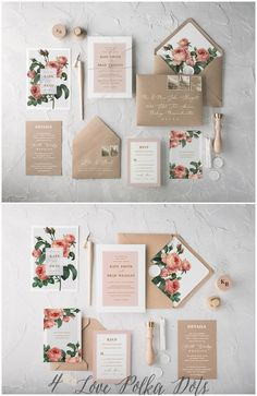 The Ethereal wedding invitation suite combines beautiful botanical printing with eco kraft papers and romantic calligraphy. Muted tones and soft colour palettes complete the design. Fully assembled wedding invitations from $4,80 #weddings