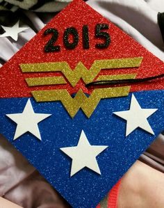Just finished my Wonder Woman graduation cap!!! I'm really happy with it