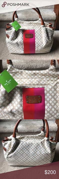 🚨FINAL PRICE🚨NWT! Kate spade NWT! Kate spade Steve handbag! This is absolutely gorgeous! Tan and Ivory canvas! And beautiful imprint on the bottom! Leather handles. kate spade Bags Hobos