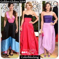 The Golden Globes 2014 | For A Lucky Girl Colorblocking  Sandra Bullock, Taylor Swift, Aubrey Plaza