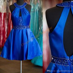 2016 New Arrival Homecoming Dresses Cheap With Beaded Halter Neck And  Keyhole Back Short Mini Royal Blue Cocktail Gowns Homecoming Dresses Under  100 Dollars ... f3a256b28