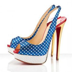 tian Louboutin 150mm Peep Toe Slingbacks Blue Dot [Slingbacks431] - $125.00 : Designershoes-shopping, World collection of Top Designer high heel UP TO 90% OFF!