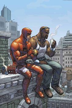 Daredevil and Luke Cage by Scott Kolins