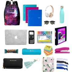 backpack by belladare on Polyvore featuring JanSport, Michael Kors, Glam Bands, Ray-Ban, Avery, ban.do, Harrods, S'well, ACCO and Beats by Dr. Dre