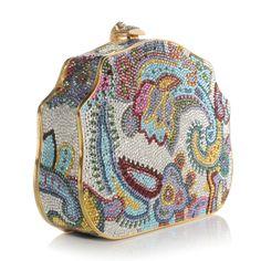 Judith Leiber crystal paisley clutch                              …