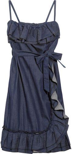 Red Valentino  Ruffled Stretch Denim Dress - Lyst