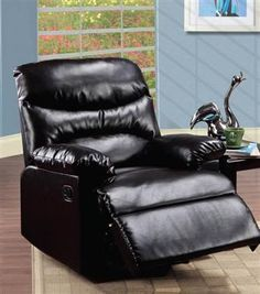 The handsome Acme Furniture Arcadia Faux Leather Recliner has a classic look you'll love. This recliner is upholstered in supple bonded leather. Brown Leather Recliner Chair, Glider Recliner, Leather Sofa, Recliner Chairs, Fur Chairs, Student Chair, Wall Hugger Recliners, Acme Furniture, Home