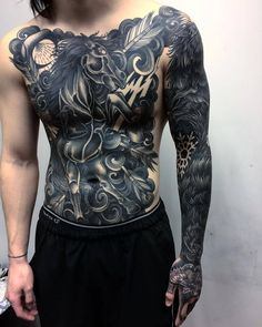 Discover the top 105 best full-body tattoo ideas for men including black/gray and full-color tattoos as well as designs featuring skulls, buddhas and more. Mens Body Tattoos, Leg Tattoo Men, Body Art Tattoos, Hand Tattoos, Sleeve Tattoos, Tattoo Ribs, Traditional Chest Tattoo, Traditional Tattoo Filler, Traditional Tattoos