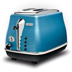 This retro De'Longhi Icona toaster in azure blue features 2 slice functionality, browning control, of power, non slip feet, crumb tray and has extra lift positioning. Toaster, Small Kitchen Appliances, Home Kitchens, Home Furniture, Sweet Home, Blue, Design, Browning, Kitchen Stuff