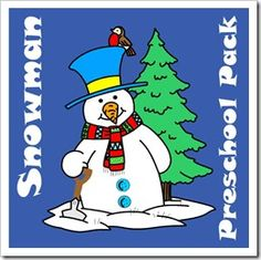FREE Snowman Preschool Pack with educational worksheets for toddlers, preschoolers, kindergarten, 1st grade and 2nd grade