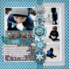 Winter Layout ---- would look good in CTMH Wonderland paper. Scrapbook pages