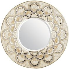 "Capiz & Mirrored Tile Round Mirror 31.50"" Dia x 1""D  $159 across from window"