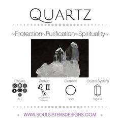 Metaphysical Healing Properties of Quartz, including associated Chakra, Zodiac and Element, along with Crystal System/Lattice to assist you in setting up a Crystal Grid. Go to https://wwws.oulsistersdesigns.com/quartz to learn more!