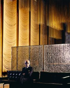 Philip Johnson in The Four Seasons restaurant, Seagram Building, New York