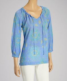 Another great find on #zulily! Peri Blue Terrace Muse Three-Quarter Sleeve Top by Fresh Produce #zulilyfinds