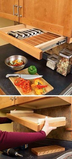 3 Kitchen Storage Projects - Cabinet - Ideas of Cabinet - Kid-Safe Under the Cabinet Knife Drawer Clever Kitchen Storage, Kitchen Organization, Organization Ideas, Hidden Kitchen, Eames Design, Cocina Diy, Ideias Diy, Kitchen Redo, Kitchen Cabinets