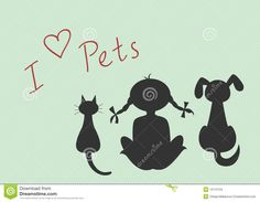 silhouettes-sitting-cat-dog-little-girl-13175734.jpg (1300×1009)