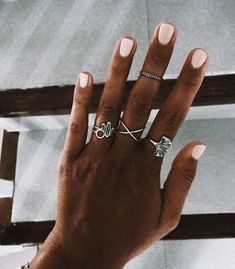 ☆ ☆ cute boho jewelry in silver with pink nails Cute Nails, Pretty Nails, Hair And Nails, My Nails, Pink Nails, Nail Ring, Cute Jewelry, Jewlery, Boho Jewelry