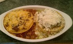 New Mexico style Red and Green Stacked Enchiladas