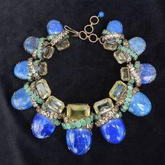 Breathtaking IRADJ MOINI «Semiprecious» NECKLACE w. Lapis-lazuli/Emerald/Citrine