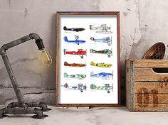 PLanes.  Old & modern planes.  Illustration.  Ana FERNANDEZ