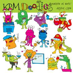 Monsters at work Digital Clip art by kpmdoodles on Etsy, $3.65