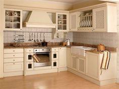 Meble kuchenne z frontami z kratki drewnianej