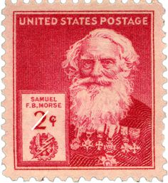 Samuel F.B. Morse. 1940 design by William A. Roach of the Bureau of Engraving and Printing,USPS Stamps.
