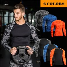 MASCUBE Male Skin Tight Shirts Compression Crossfit  T-Shirts Bodybuilding Fitness Leopard Long Sleeves Tops