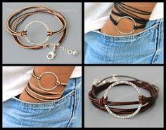 Silver INFINITY Circle LEATHER Wrap Bracelet by WrappedinYou
