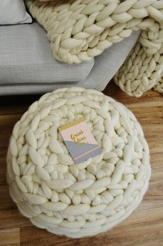 Giant knitted footstool - #hygge living   #lagom #giant #knitting #knitted #footstool #crochet #homedecor